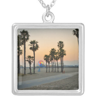 USA, California, Santa Monica Pier at sunset Square Pendant Necklace