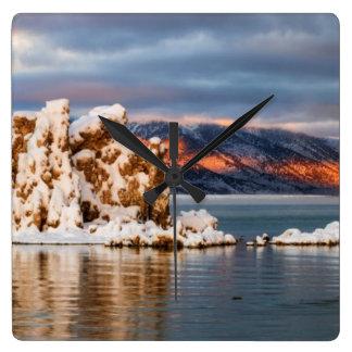 USA, California, Sunrise at Mono Lake Square Wall Clock