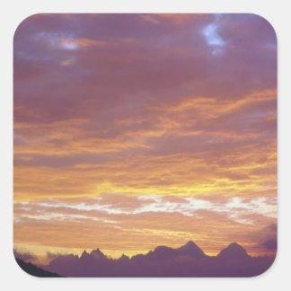 USA, California, Sunset over the Sierra Nevada Square Sticker