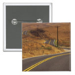 USA, California. Winding country road. Credit 2 Inch Square Button
