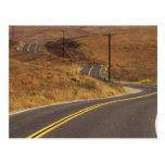USA, California. Winding country road. Credit Postcard