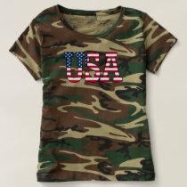 USA Camo American Flag Camouflage T-shirt