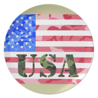 USA Camoflauge Flag and Stencil Plate