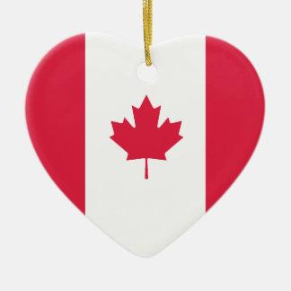 USA Canada Flag Heart Ornament