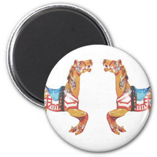 USA Carousel Horses 2 Inch Round Magnet