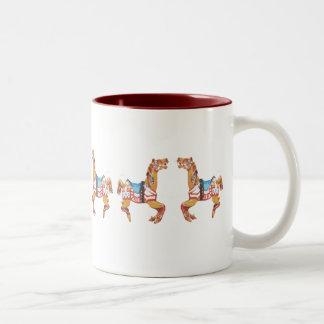 USA Carousel Horses Two-Tone Coffee Mug