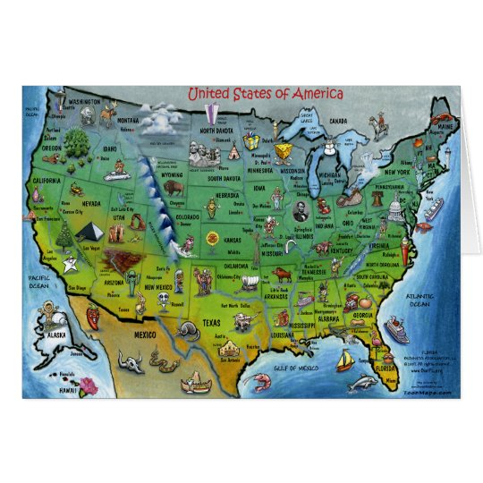 USA Cartoon Map Card