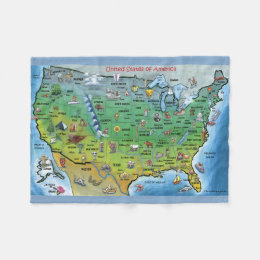 USA Cartoon Map Fleece Blanket