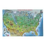 USA Cartoon Map Laminated Placemat