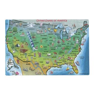 USA Cartoon Map Laminated Place Mat