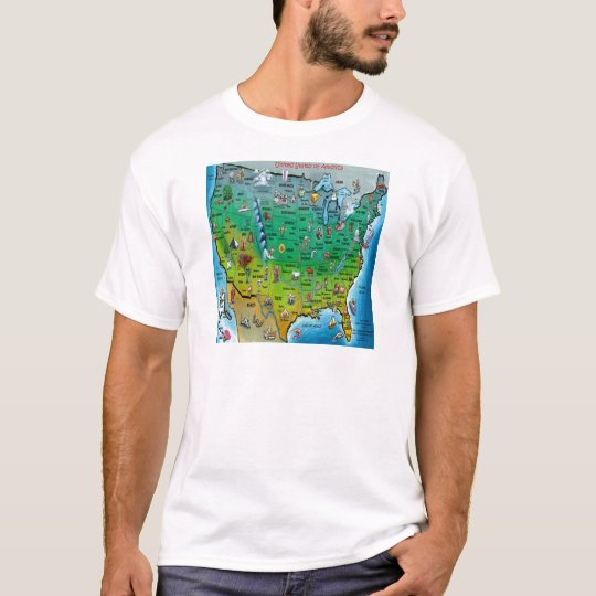 USA Cartoon Map T-Shirt