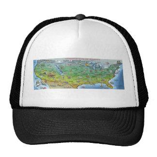 USA Cartoon Map Trucker Hat