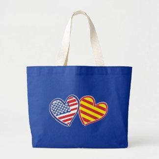 USA Catalonia Love Hearts Jumbo Tote Bag