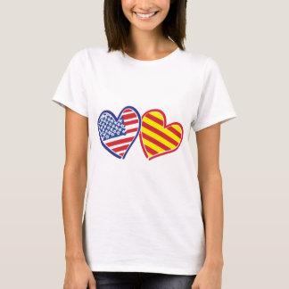 USA Catalonia Love Hearts T-Shirt