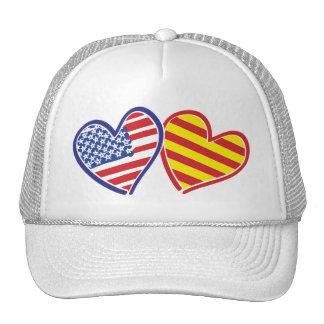 USA Catalonia Love Hearts Trucker Hat