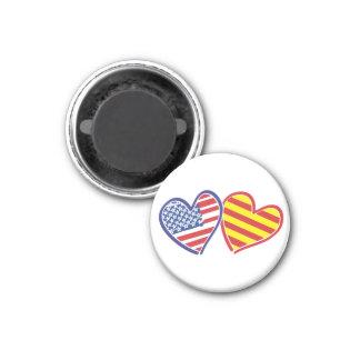 USA Catalonia Patriotic Love Hearts Magnet