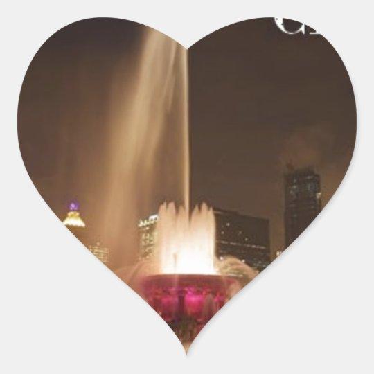 USA CHICAGO Buckingham Fountain Heart Sticker
