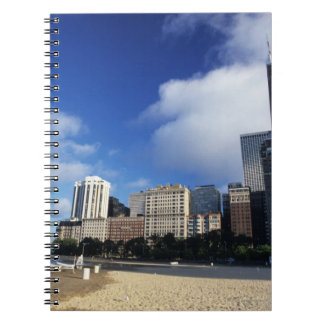 USA, Chicago, Illinois, Oak Street Beach and Notebook