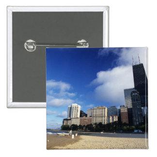 USA, Chicago, Illinois, Oak Street Beach and Pinback Button