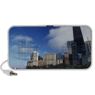 USA, Chicago, Illinois, Oak Street Beach and Portable Speakers