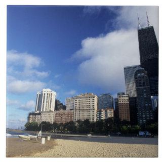 USA, Chicago, Illinois, Oak Street Beach and Tile