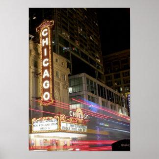 USA Chicago Nightlife Urban Lights Design Summer Poster