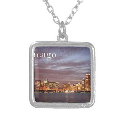 USA Chicago Skyline (add) (St.K) Square Pendant Necklace