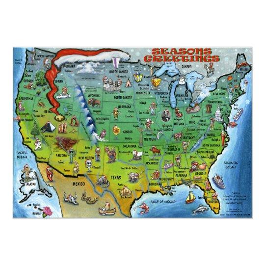 USA Christmas Map Card