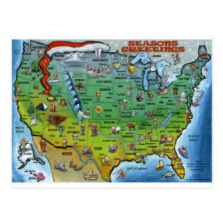USA Christmas Map Postcard