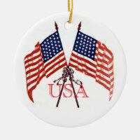 USA Christmas Double-Sided Ceramic Round Christmas Ornament