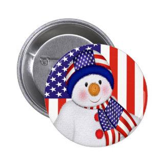 USA Christmas Snowman Button