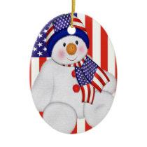 USA Christmas Snowman Ceramic Ornament