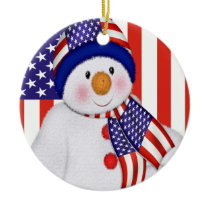 USA Christmas Snowman Ceramic Ornament