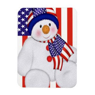 USA Christmas Snowman Magnet