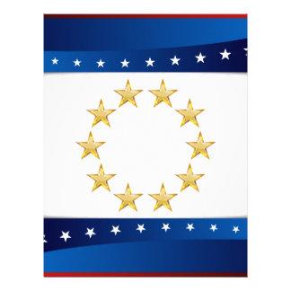 USA Circular Gold Star Formation Background Letterhead