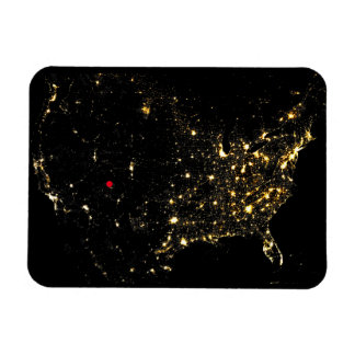 USA City Lights at Night with your Location Magnet