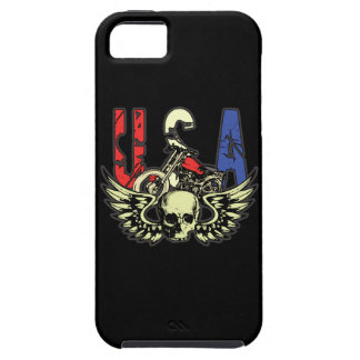 USA Classic Motorcycle Skull With Wings iPhone 5 Cases