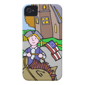USA Colonial Period Man Riding Horse Case-Mate iPhone 4 Case