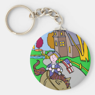 USA Colonial Period Man Riding Horse Keychain
