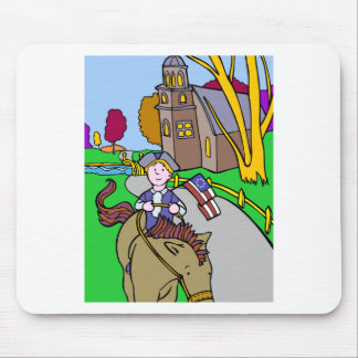 USA Colonial Period Man Riding Horse Mouse Pad