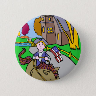 USA Colonial Period Man Riding Horse Pinback Button