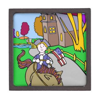 USA Colonial Period Man Riding Horse Premium Trinket Boxes