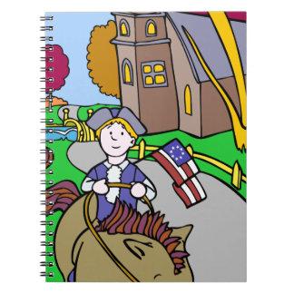 USA Colonial Period Man Riding Horse Spiral Notebook