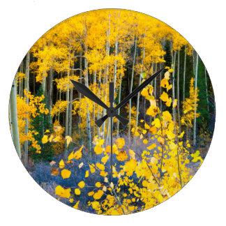 USA, Colorado. Bright Yellow Aspens In Rockies 2 Large Clock