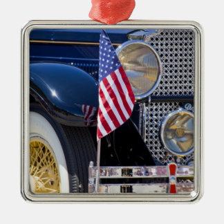 USA, Colorado, Frisco. Vintage Packard auto Square Metal Christmas Ornament