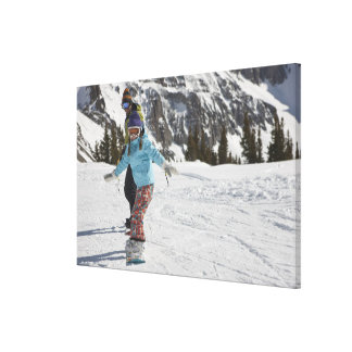 USA, Colorado, Telluride, Father and daughter 2 Canvas Print