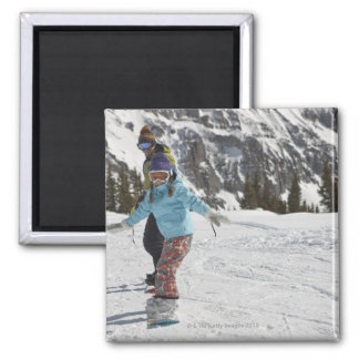 USA, Colorado, Telluride, Father and daughter 2 Magnets