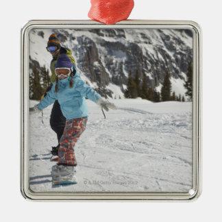 USA, Colorado, Telluride, Father and daughter 2 Metal Ornament