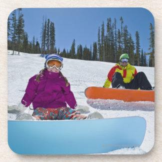 USA, Colorado, Telluride, Father and daughter 3 Beverage Coaster