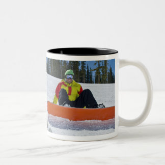 USA, Colorado, Telluride, Father and daughter 3 Mugs